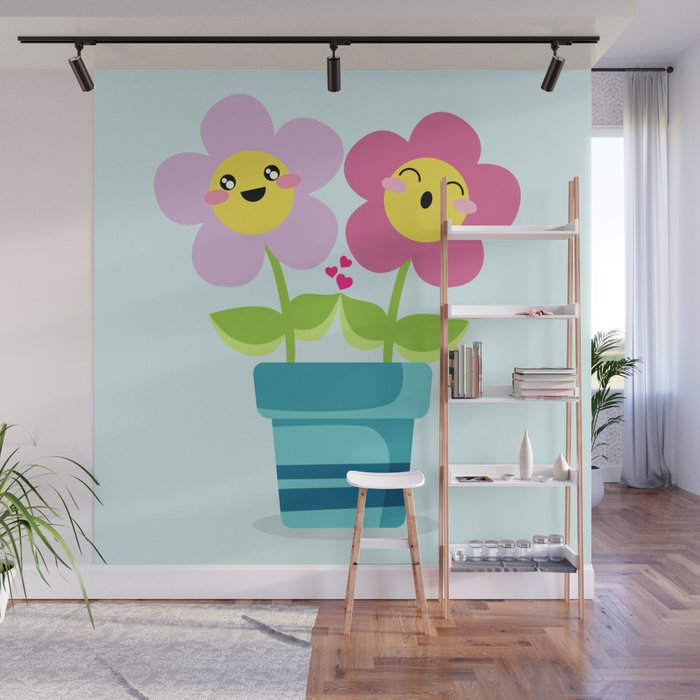 Kawaii Spring Lovers Wall Mural By Eugeniaart Society6