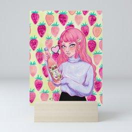 Strawberry Sake Girl Watercolor Illustration Mini Art Print