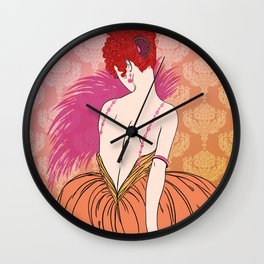 Art Deco Lady with Damask - BIANCA: Melon Melange Wall Clock