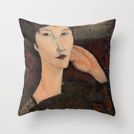 """Amedeo Modigliani """"Adrienne (Woman with Bangs)"""" (1916) Throw Pillow"""