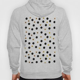 Black & Gold Glitter Confetti on white background- Elegant pattern Hoody