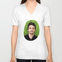 james franco V-neck T-shirts featuring James Franco by WeedPornDaily
