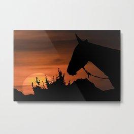 Countryside Sunset Scene Illustration Metal Print
