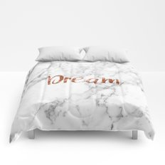 Rose gold marble dream Comforters