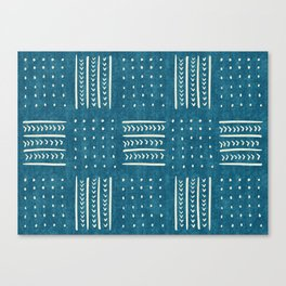 Mud Cloth Patchwork in Teal Canvas Print