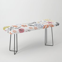 Floral Collage on White Bench