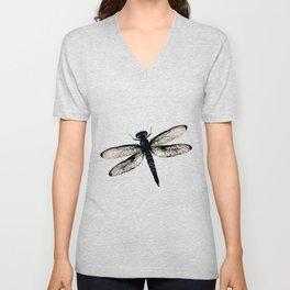 Blue dragonfly vector Unisex V-Neck