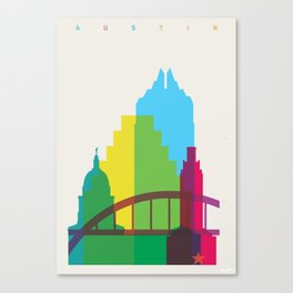 Shapes of Austin. Accurate to scale. Canvas Print