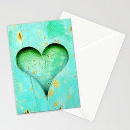 Blue Peeling Paint Wood Heart Stationery Cards