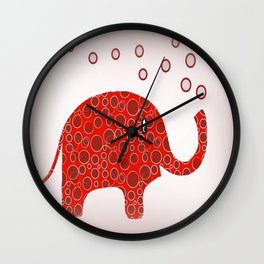 Red Circles Elephant Wall Clock