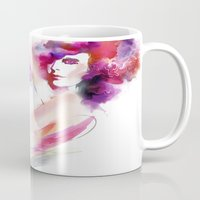woman Mugs featuring woman by tatiana-teni