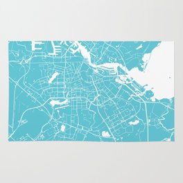 Amsterdam Turquoise on White Street Map Rug