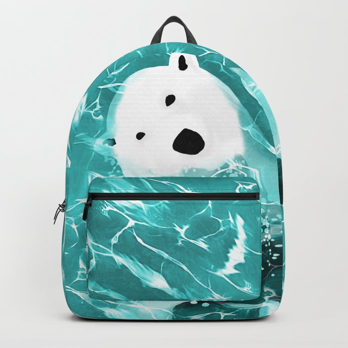 Playful Polar Bear In Turquoise Water Design Backpack
