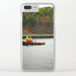 Boat Passing Light House Clear iPhone Case