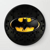 bat man Wall Clocks featuring BAT MAN by BeautyArtGalery