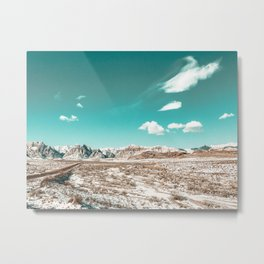 Vintage Desert Clouds // Teal Blue Skyline Mountain Range in the Mojave after a Snow Storm Metal Print
