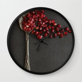 Silver Spoon and Pomegranate Seeds. Wall Clock