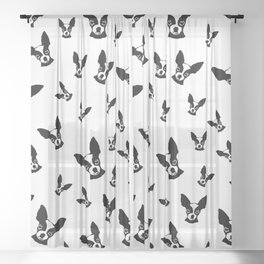 CHIHUAHUA DOG LOVERS GIFTS,GIFT WRAPPED FOR CHRISTMAS Sheer Curtain