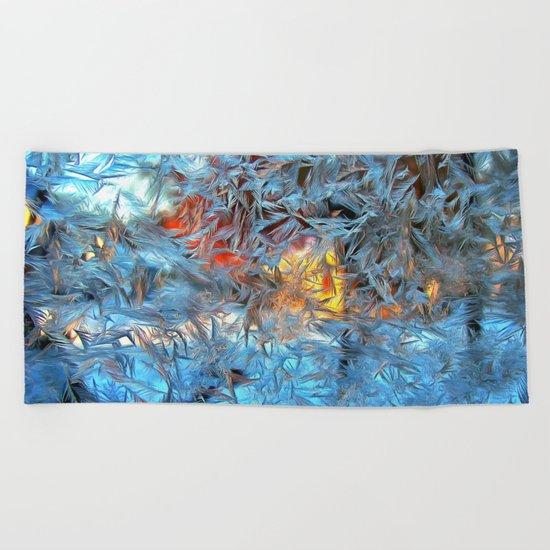 Frozen window Beach Towel