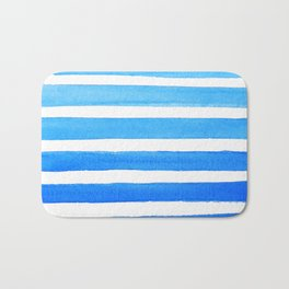 Blue Watercolor Stripes Bath Mat