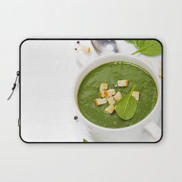 Traditional Spinach cream soup with croutons and fresh spinach leaf on top Laptop Sleeve