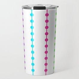 Geometric Droplets Pattern - Rainbow Colors on White Travel Mug