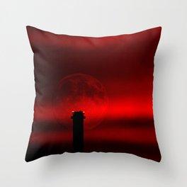 sunset, moon and flight limiting lights Throw Pillow