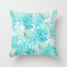Turquoise Palm Leaves and Pineapples on Pink Throw Pillow