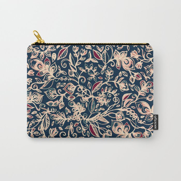 Navy Garden - floral doodle pattern in cream, dark red & blue Carry-All Pouch