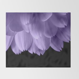 Ultra violet purple flower petals black Throw Blanket