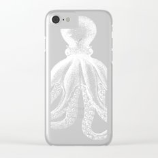 Octopus | Black and White Clear iPhone Case