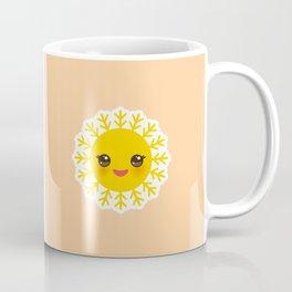 Hello Summer bright tropical card design, ice cream, sun, cat. Kawaii cute face. Coffee Mug