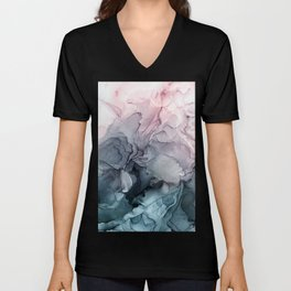 Blush and Payne's Grey Flowing Abstract Painting Unisex V-Neck