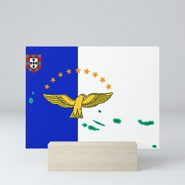 Azores Flag with Map of the Azores Islands Mini Art Print