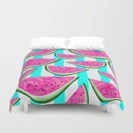 Watermelon Crush on Aqua and White Stripes Duvet Cover
