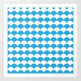 Blue Clamshell Pattern Art Print