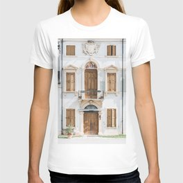 WHITE CONCRETE BUILDING WITH WOODEN DOORS AND WINDOWS T-shirt