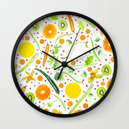 Fruits and vegetables pattern (13) Wall Clock