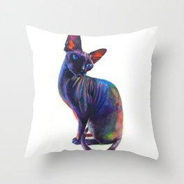 Black sphynx Throw Pillow