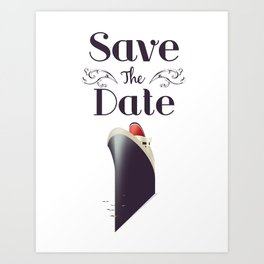 Save the Date Cruise liner Art Print