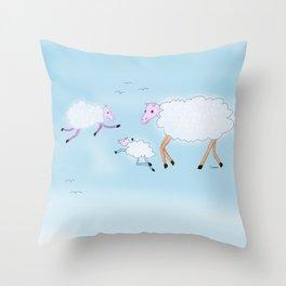 Sheep clouds Throw Pillow