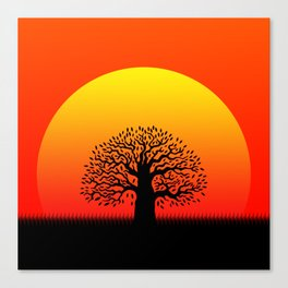 Sunset and tree of life in the savannah Canvas Print