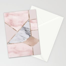 Geometric mix up - rose gold Stationery Cards