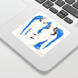 Nudes in Gold and Blue Sticker