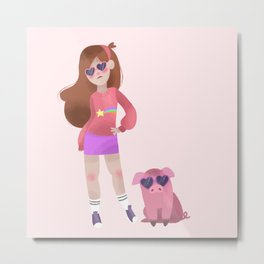 Cool Mabel and Waddles Metal Print