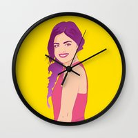 pretty little liars Wall Clocks featuring Pretty little liars - Lucy Hale by Lais Design