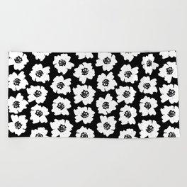 Linocut botanical nature floral flower art nursery black and white decor newborn Beach Towel