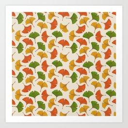 Fall ginkgo biloba leaves pattern Art Print