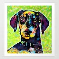 dachshund Art Prints featuring Dachshund by Gary Grayson