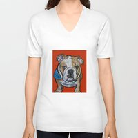 english bulldog V-neck T-shirts featuring Johnny the English Bulldog by Pawblo Picasso